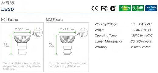 Led B22D spotjes specificaties en afmetingen