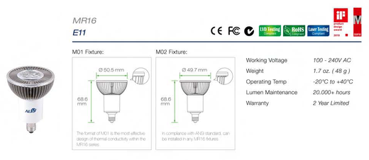 Led E11 spotjes specificaties en afmetingen