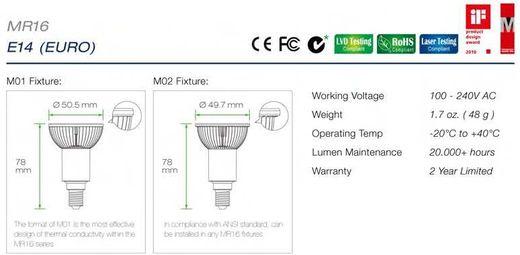 Led E14 spotjes MR16 specificaties en afmetingen