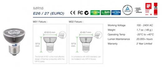 Led E27 MR16 spots specificaties en afmetingen