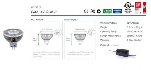 Led GU5.3 spotjes specificaties en afmetingen