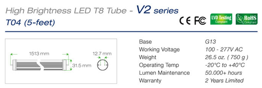 Led buizen T8 150cm buizen specificaties en afmetingen