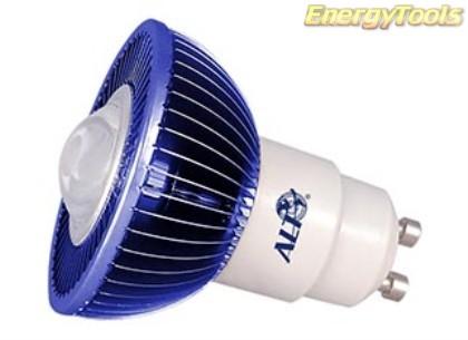 MR16 spotje GU10 230V 1W Luxeon blauw 60° led spot 35Lm - led spots
