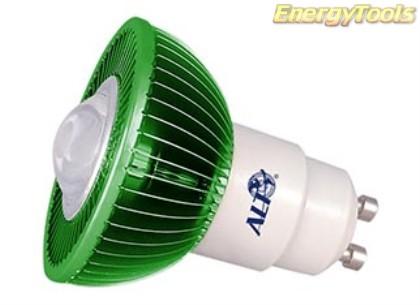 MR16 spotje GU10 230V 3W Luxeon groen 120° led spot 200Lm - led spots