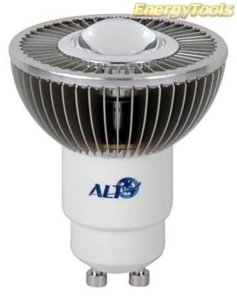 MR16 spotje GU10 230V 1W Luxeon koudwit 120° led spot 120Lm - led spots