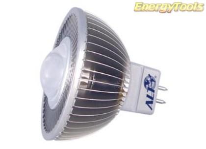 MR16 spotje GU5.3 12V 1W Luxeon koudwit 60° led spot 120Lm - led spots