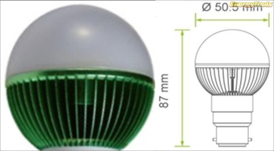 Led kogel B22D bajonet G19 230V 7W groen 170Lm 180° Epistar - led kogellampen