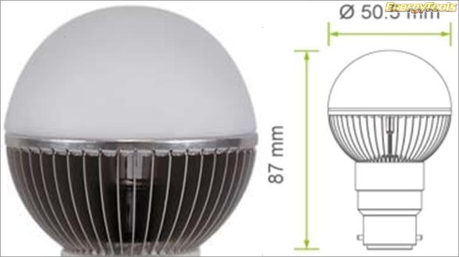 Led kogel B22D bajonet G19 230V 7W neutraal wit 520Lm 180° Luxeon - led kogellampen