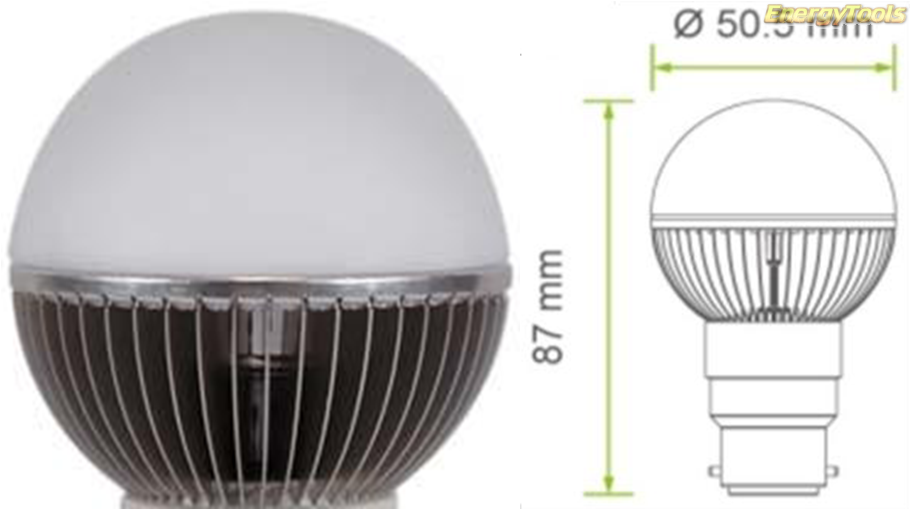 Led kogel B22D bajonet G19 230V 7W neutraal wit 590Lm 180° Cree XP-G - led kogellampen