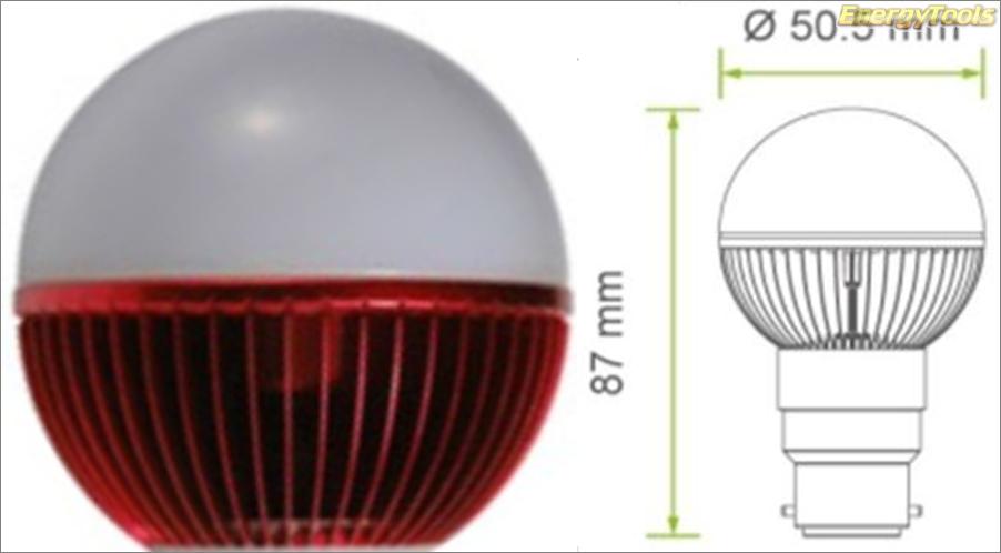 Led kogel B22D bajonet G19 230V 5W rood 120Lm 180° Epistar - led kogellampen