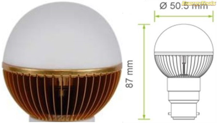 Led kogel B22D bajonet G19 230V 7W warm wit 420Lm 180° Cree - led kogellampen