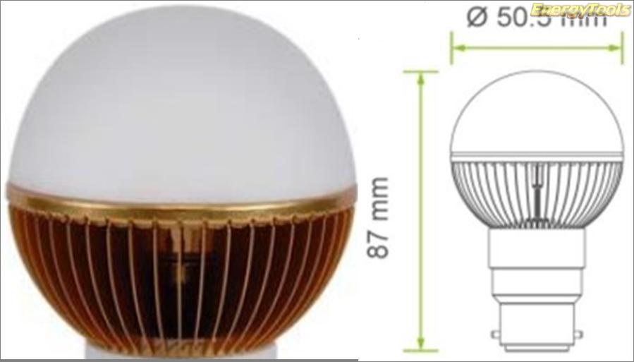 Led kogel B22D bajonet G19 230V 7W warm wit 520Lm 180° Cree XP-G - led kogellampen