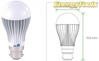 Led Peer B22D bajonet A19 230V 7W warm wit 170Lm 180° Epistar - led peertjes