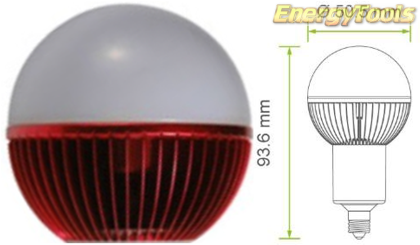 Led kogel E11 G19 230V 7W rood 140Lm 180° Epistar - led kogellampen