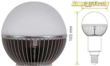 Led kogel E14 G19 230V 7W koud wit 475Lm 180° Cree MC-E - led kogellampen