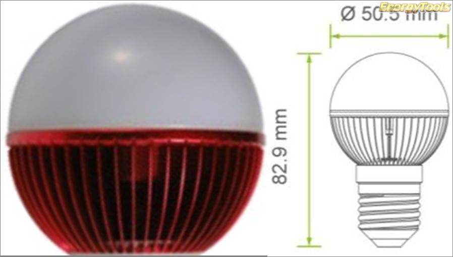 Led kogel E27 G19 230V 1W rood 50Lm 180° Philips Rebel - led kogellampen