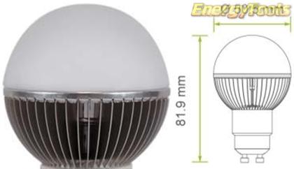 Led kogel GU10 G19 230V 7W koud wit 475Lm 180° Cree MC-E - led kogellampen