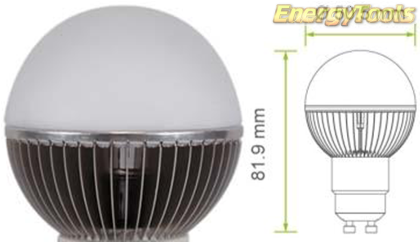 Led kogel GU10 G19 230V 7W neutraal wit 410Lm 180° Cree MC-E - led kogellampen