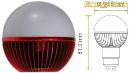 Led kogel GU10 G19 230V 5W rood 120Lm 180° Epistar - led kogellampen