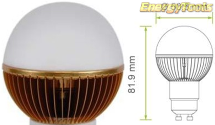 Led kogel GU10 G19 230V 5W warm wit 150Lm 180° Epistar - led kogellampen