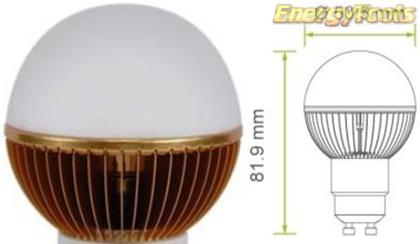 Led kogel GU10 G19 230V 7W warm wit 355Lm 180° Cree MC-E - led kogellampen