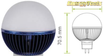 Led kogel GU5.3 G19 12V 5W blauw 70Lm 180° Epistar - led kogellampen