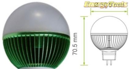 Led kogel GU5.3 G19 12V 5W groen 140Lm 180° Epistar - led kogellampen