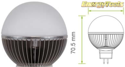 Led kogel GU5.3 G19 12V 7W koud wit 250Lm 180° Epistar - led kogellampen