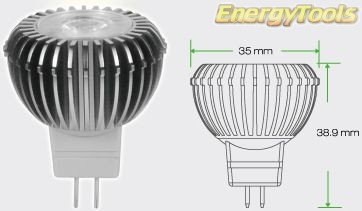 GU4 Led MR11 12V 3W 45° spot 140Lm warm wit Cree XPE led verlichting - led spots