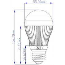 Led Peer E27 A55 230V 10W neutraal wit 600 lumen 180º Cree XP-G - led peertjes